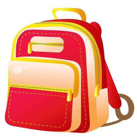 Color image of school satchel on white background. Vector illustration for kids.