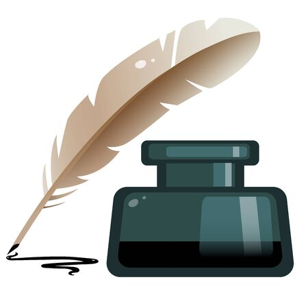 Color image of inkwell with feather pen on white background. Vector illustration.