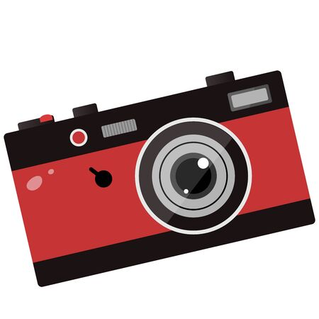 Color image of red photo camera on white background. Vector illustration. Imagens - 134533395