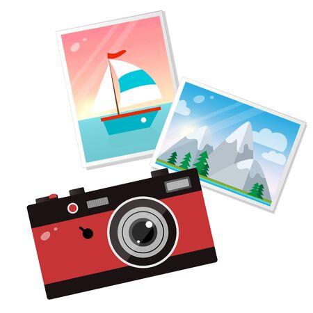 Immagine a colori della macchina fotografica rossa con immagini su sfondo bianco. Hobby e turismo. Illustrazione vettoriale.