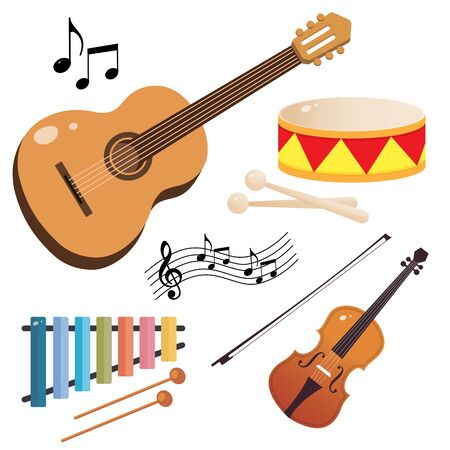 Set of musical instruments. Color images of guitar, violin, drum and xylophone on white background. Vector illustrations for kids. Ilustracja