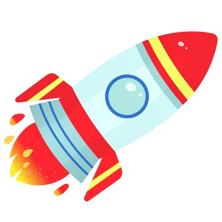 Color image of cartoon rocket on white background. Space. Vector illustration for kids. 向量圖像