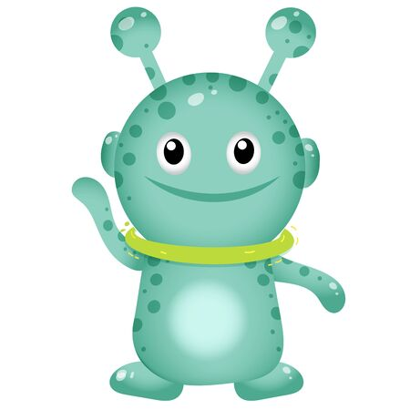 Color image of cartoon little alien on white background. Space. Vector illustration for kids.