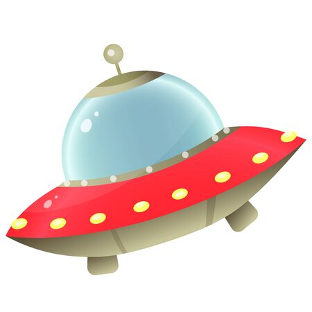 Color image of cartoon flying saucer of aliens on white background. Space. Vector illustration for kids. Vectores