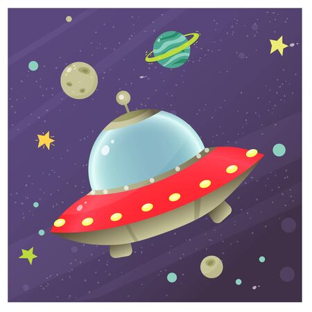 Color image of cartoon flying saucer of aliens in space. Vector illustration for kids. Vectores