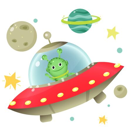 Color images of cartoon alien with flying saucer and planets with stars on white background. Space. Vector illustration set for kids. Vectores