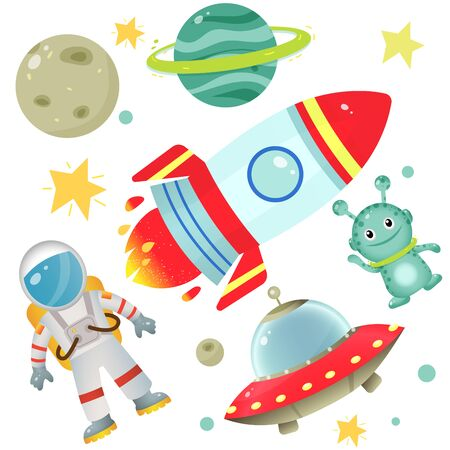 Color images of cartoon astronaut with rocket, of aliens with flying saucer and planets with stars on white background. Space. Vector illustration set for kids. Vectores