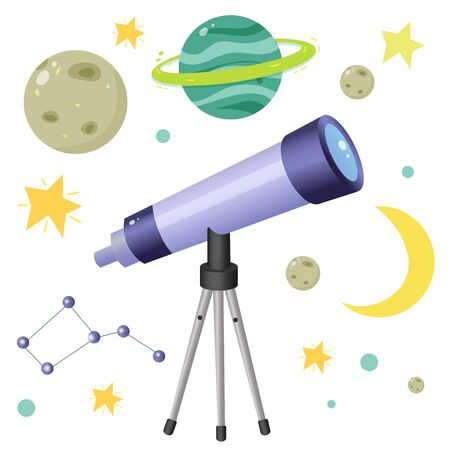 Color image of cartoon telescope with planets and stars on white background. Space and astronomy. Vector illustration set for kids.