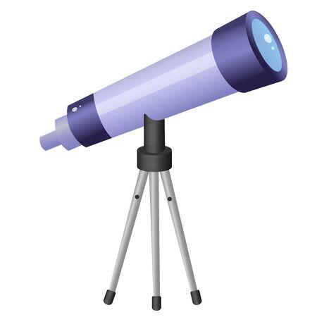 Imagen en color del telescopio de dibujos animados sobre fondo blanco. Espacio y astronomía. Ilustración de vector para niños.
