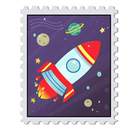 Cartoon mail stamp with image of cosmos on white background. Vector illustration for kids.