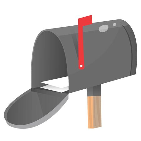 Color image of open mailbox with letter on white background. Vector illustration. Stock Illustratie