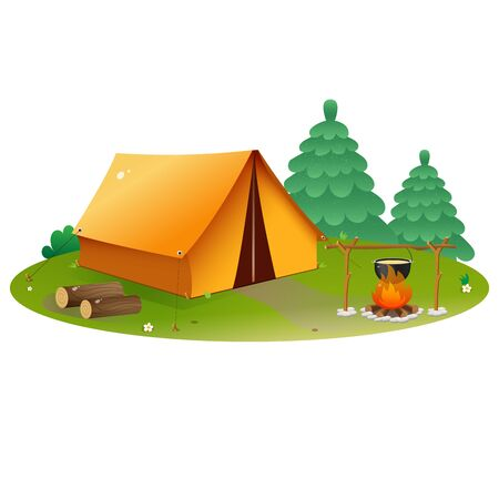 Color image of tourism camp with tent and campfire on white background. Camping. Vector illustration.