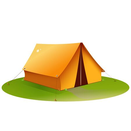 Color image of tourism tent on white background. Camping. Vector illustration.