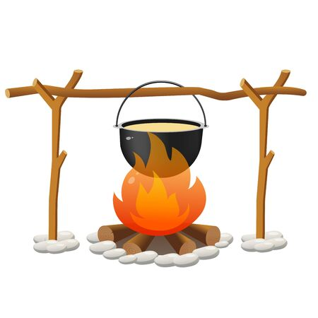 Color image of campfire and of bowler on white background. Camping and hikings. Vector illustrations. Ilustrace