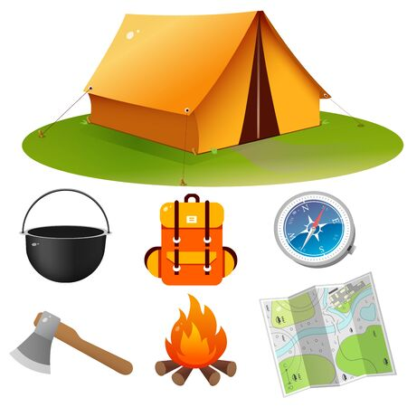Tourist set. Color images of tourism tent with campfire, of backpack with bowler, of map and compass on white background. Camping and hikings. Vector illustrations. Ilustrace