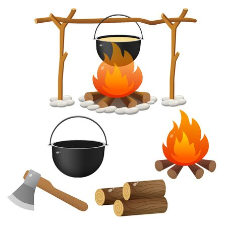 Tourist set. Color images of campfire, firewood and of bowler on white background. Camping and hikings. Vector illustrations.