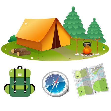 Tourist set. Color images of tourism tent with campfire, of backpack, map and compass on white background. Camping and hikings. Vector illustrations.