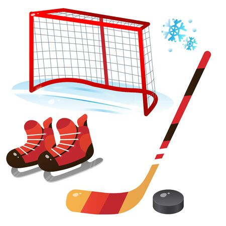 Hockey set. Color images of cartoon skates with stick and puck on white background. Sports equipment. Vector illustration.