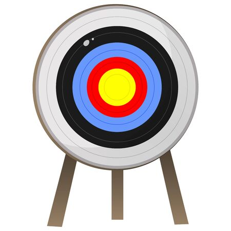 Color image of cartoon target for archery on white background. Sports equipment. Bow shooting. Vector illustration. Vettoriali