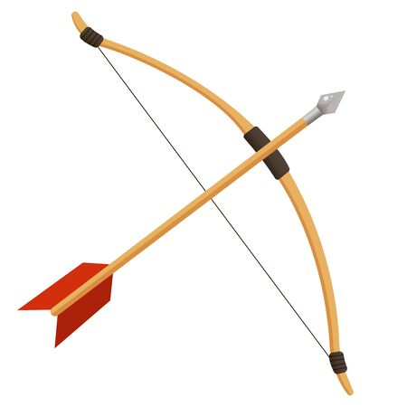 Color image of cartoon bow with arrow on white background. Sports equipment. Bow shooting or archery. Vector illustration.