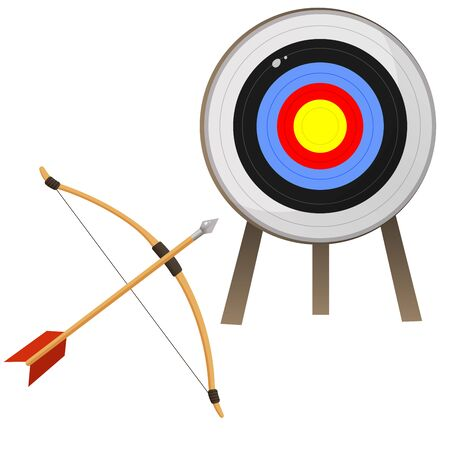Color images of target for archery and bow with arrow on white background. Sports equipment. Bow shooting. Vector illustration set. Vettoriali
