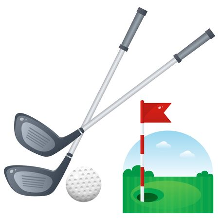 Golf set. Color image of cartoon putter with ball and playground on white background. Sports equipment. Vector illustration.