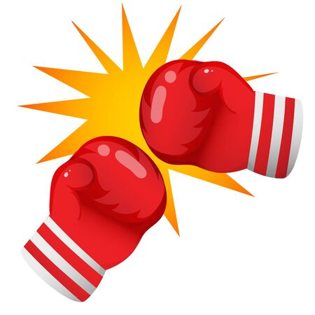 Color image of cartoon boxer gloves on white background. Sports equipment. Boxing. Vector illustration. Archivio Fotografico - 134614094
