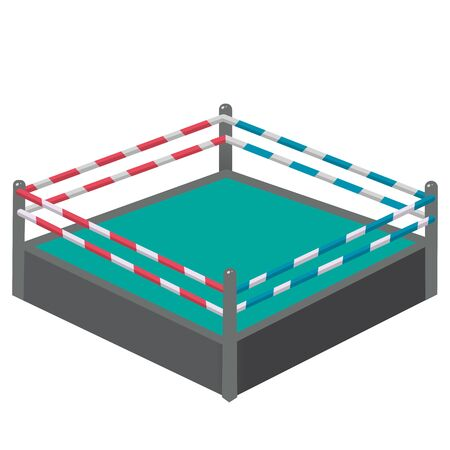 Color image of cartoon boxing ring or tatami on white background. Sports equipment. Boxing. Vector illustration. Archivio Fotografico - 134614095