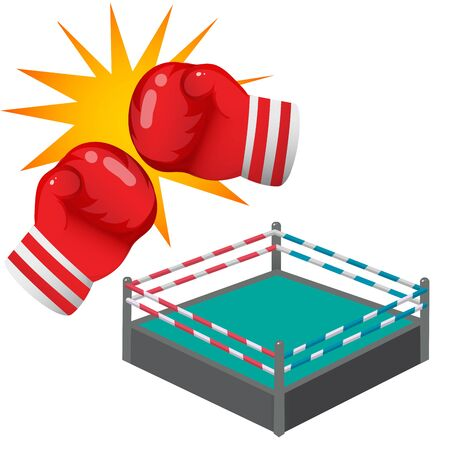 Color images of cartoon boxer gloves and boxing ring or tatami on white background. Sports equipment. Boxing. Vector illustration. Archivio Fotografico - 134614093