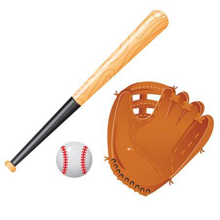 Images en couleur d'une batte de baseball, d'une balle et d'une mitaine ou d'un gant de receveur sur fond blanc. Équipement sportif. Jeu d'illustrations vectorielles.