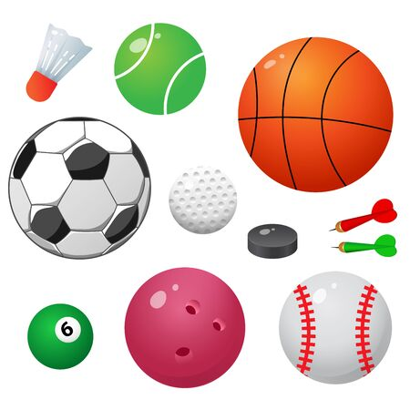 Set of sports balls. Color images on white background. Vector illustration. Ilustracja