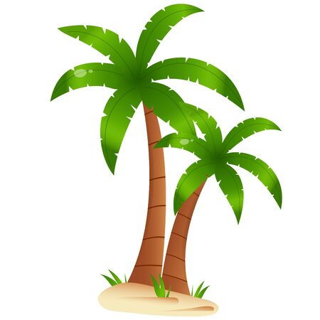 Color image of cartoon palm tree on white background. Plants. Vector illustration for kids. Foto de archivo - 134614175
