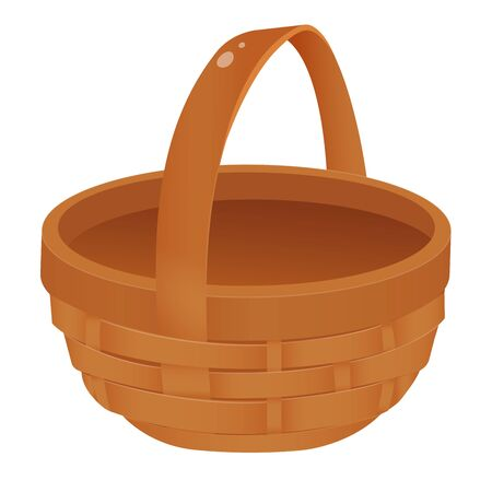 Color image of wicker basket on white background. Vector illustration. Ilustracja