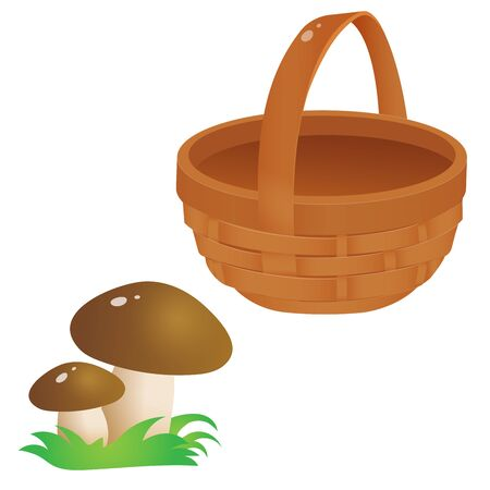 Color images of wicker basket with mushrooms on white background. Vector illustration.
