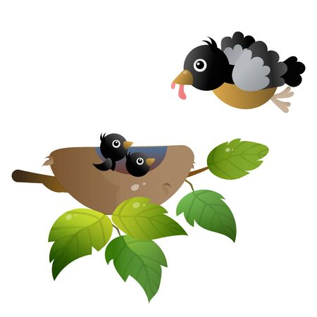 Color image of cartoon bird nest with nestlings or chicks on white background. Vector illustration for kids.