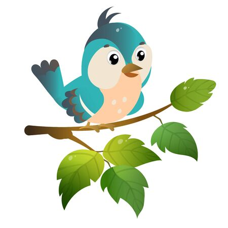 Color image of cartoon bird on branch on white background. Vector illustration for kids.
