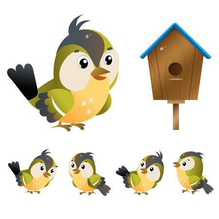 Titmouse. Color images of cartoon bird with birdhouse on white background. Vector illustration set for kids.