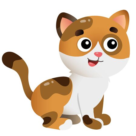 Color image of cartoon spotted cat on white background. Pets. Vector illustration for kids.