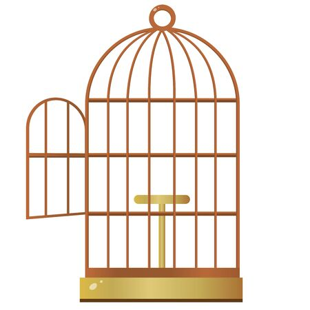 Color image of cartoon bird cage on white background. Pets. Vector illustration.
