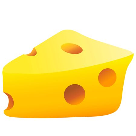 Color image of cartoon cheese on white background. Food stuff. Vector illustration.  イラスト・ベクター素材