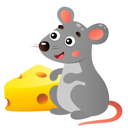 Color image of cartoon mouse with cheese on white background. Vector illustration for kids.
