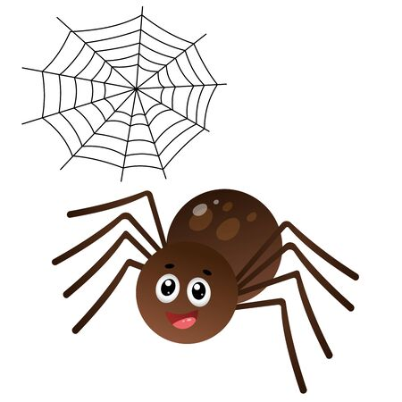 Color image of cartoon spider with web on white background. Vector illustration for kids.