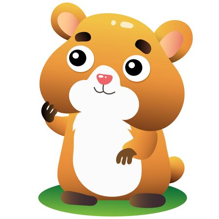 Color image of cartoon hamster on white background. Vector illustration for kids.