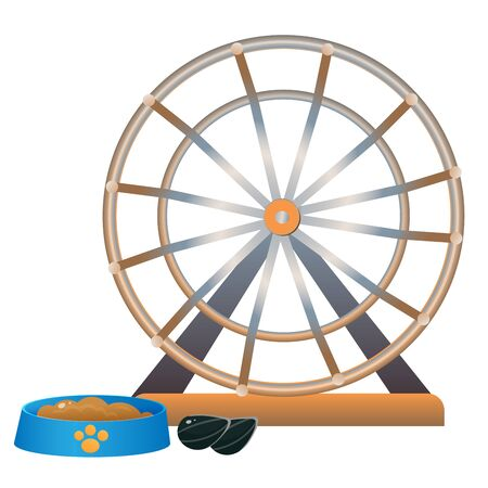 Color image of cartoon hamster wheel  on white background. Pets. Vector illustration.
