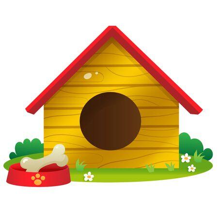 Color images of cartoon dog houses on white background. Pets. Vector illustration set for kids.