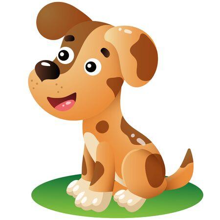 Color image of cartoon dog on white background. Pets. Vector illustration for kids.