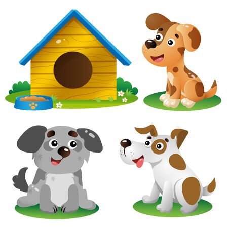 Color images of cartoon dogs on white background. Pets. Vector illustration set for kids.