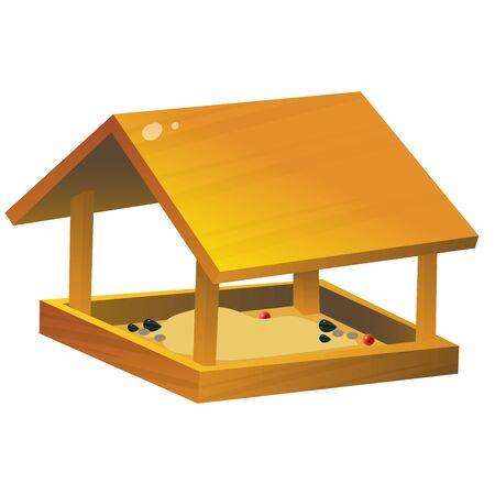 Color image of cartoon bird feeder on white background. Vector illustration for kids.