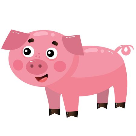 Color image of cartoon pig or swine on white background. Farm animals. Vector illustration for kids.