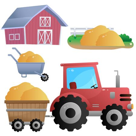 Color images of cartoon tractor and barn with hay on white background. Farm. Vector illustration set for kids.